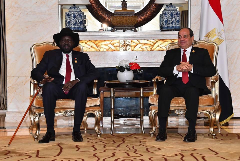 """الرئيس عبد الفتاح السيسي استقبل اليوم بمقر إقامته بالعاصمة الصينية """"بكين"""" رئيس جنوب السودان سلفا كير"""